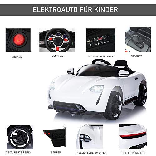 RC Kinderauto kaufen Kinderauto Bild 1: HOMCOM Kinderauto Elektroauto Kinderfahrzeug Kinderwagen mit Fernbedienung Weiß L115 x B65 x H50 cm*