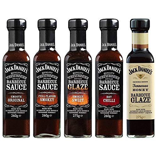 Jack Daniel's - Grillsaucen & BBQ Glaze Probierpaket - 5 Flaschen im Set (1330g) - Smooth Original, Full Flavor Smokey, Smokey Sweet, Hot Chilli, Tennessee Honey