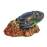 Ueohitsct Decoraciones creativas del acuario del OVNI Marte Rover curiosidad Ornamento del acuario para los accesorios del tanque de peces