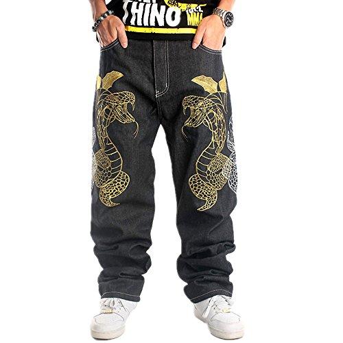 Ruiatoo Mens Jeans Fashion Skateboard Pants Snake Embroidery Baggy Jeans Hip Hop Denim Black Trousers 42