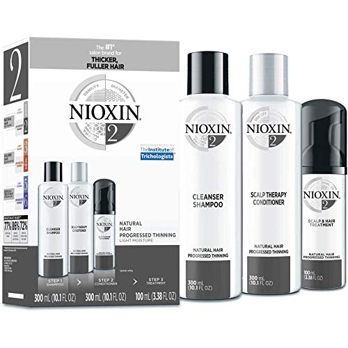 Nioxin System 2 Hair Care Kit for Natural Hair with Progressed Thinning, 3 Count, Full Size