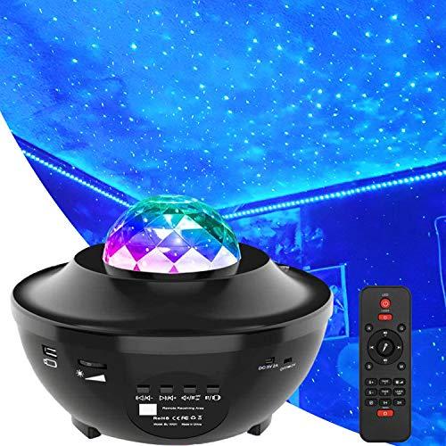 MJDUO Proyector de luz nocturna de estrellas, proyector de Ola del océano con nube de nebulosa LED y altavoz de música Bluetooth como regalo decoración de cumpleaños, fiesta de boda, recámara,