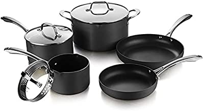 AMERICOOK Black, Nonstick Ceramic Coating Pots and Pans Set - 5 Piece - Hard Anodized Aluminium Cookware Set with Sturdy Glass Lids, Straining Covers and Pour Spouts and Non-Slip Stay-Cool Handles
