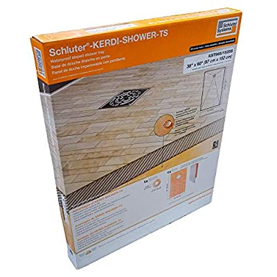 "Schluter Kerdi 38"" x 60"" Shower Tray Off-Center Drain Placement 1-1/2"" Perimeter Height"