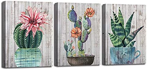 Canvas Wall Art Prints Watercolor Ball Cactus Cacti Green Plants and Flower Painting Vintage product image