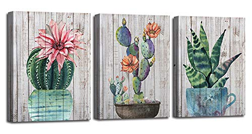 Canvas Wall Art Prints Watercolor Ball Cactus Cacti Green Plants and Flower Painting Vintage Wood Background Pictures, Succulent Poster Artwork 12'x16' 3 Panels/Set for Bedroom Bathroom Spa Salon Kitchen Home Office Decor