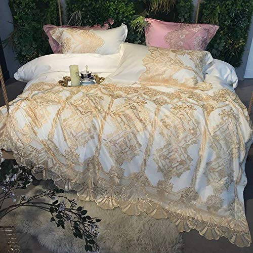 YIEBAI, 4Pieces Golden Embroidery Luxury Wedding Bedding Set Bed Set lace Duvet Cover Bed Sheet Pillow Case,1,Queen Size 4pcs