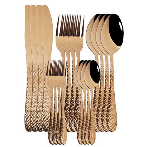 cubiertos 20pcs champagne cubertery set de acero inoxidable vajilla conjunto cuchillo pastel tenedor cuchara cuchara cocina cocina vajilla vajilla conjunto cuberteria (Color : Rose)