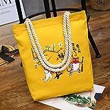ZoraQ Exorcismo femenino Canvas Shoulder Bag Simple File Shopping Handbag (amarillo)