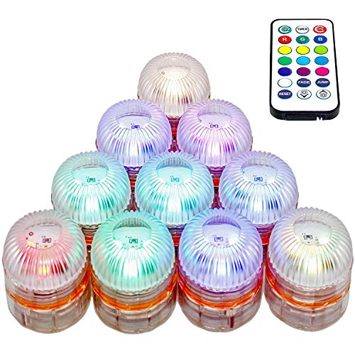 YRQ 10 PCS Submersible LED Lights, Color Changing Waterproof Vase Lights with Remote,Battery Operated Tea Lights