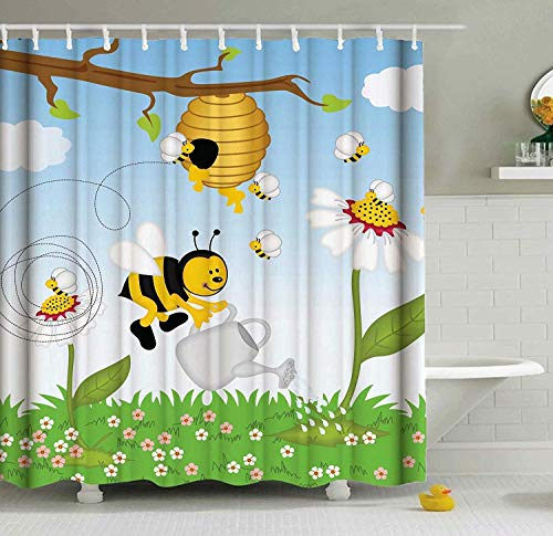EnvyPet Polyester Fabric Kids' Fun Shower Curtain, Bees Honey Daisy Flower Pot Honeycomb Happy Elements, Waterproof Bathtub Curtain Bathroom Decor Set with Hooks 72 X 96 Inches