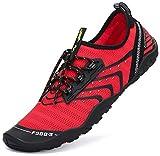 SAGUARO Chaussures de Bain Femme Chaussons Aquatiques Homme Chaussures de Plage d'été Natation Plongée Surf Séchage Rapide Chaussures d'eau Rouge,45 EU