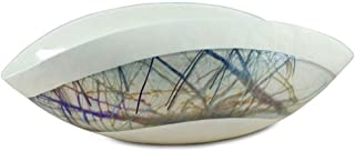 YourMurano Murano Glass Bowl, Ivory, Multicolor Strings Details, Handmade, Luxury, Modern, Blown Glass, 100% Trademark of Origin Guaranteed, Angel
