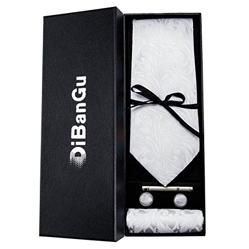 DiBanGu結婚式ネクタイカフスチーフネクタイ白メンズビジネスハンカチネクタイクリップセット(ホワイト)