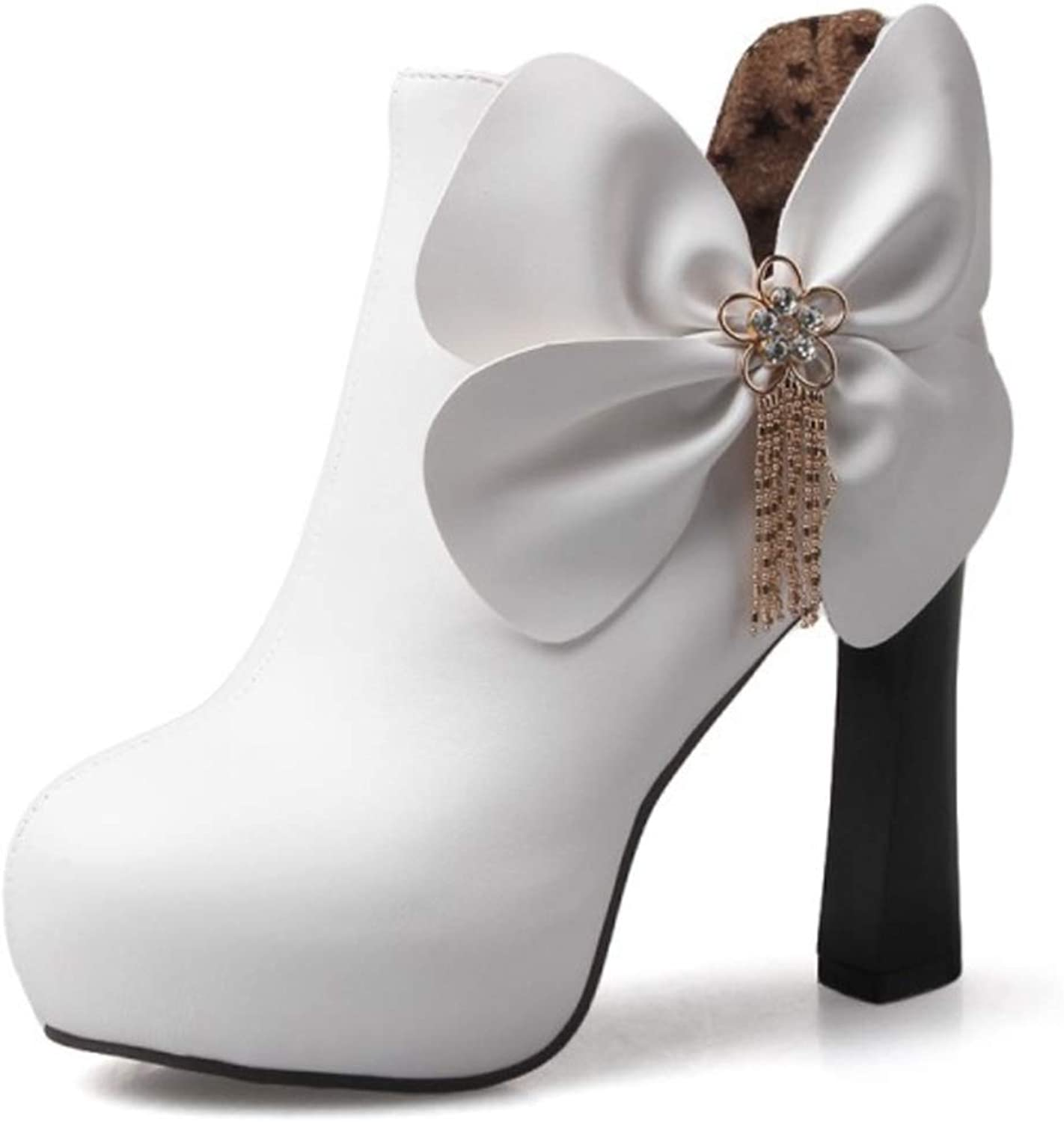 Women's Wedding Boots Artificial PU high-Heeled Thick with Ankle Boots Bow platformThickening Warm Bride shoes(36 EU-43 EU)