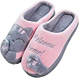 JACKSHIBO Herren Hausschuhe, Warme Plüsch Hausschuhe Indoor rutschfeste Slippers Cartoon Cat Pantoffeln Für Damen, Rosa, 38/39 EU