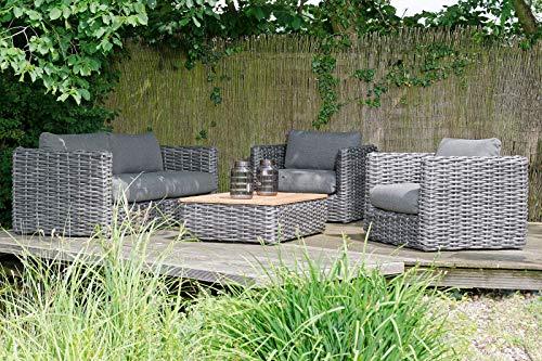 Sonnenpartner Sands Loungegruppe, Charcoal, Aluminio/Trenzado/Teca, hasta 4 Personas, incluida la tapicería