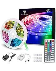WenTop Luces LED Habitacion 10 Metros, Tiras LED RGB 5050, luz led Colores con Control Remoto, Para Decoración de Televisión, Dormitorio, Bares, Techo, 20 Colores, 8 Modos de Brillo, 6 Opciones DIY