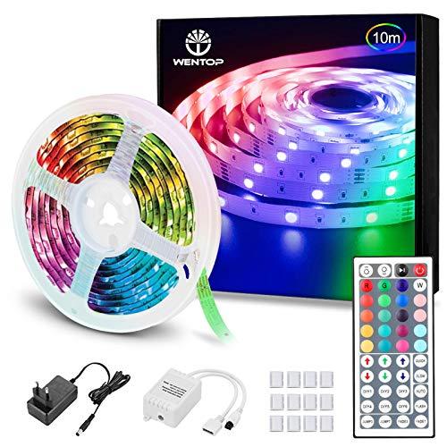 WenTop LED Strip 10m, RGB LED Band, SMD 5050 LED Streifen mit Fernbedienung, Netzteil, für zu Hause, Schlafzimmer, TV, Festival, Beleuchtung und Partydekoration