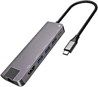 Portable Docking Station, Type-c to HDMI six-in-one docking station USB3.0+ Gigabit network card multi-function hub HUB Fa...