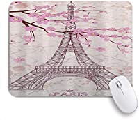 MISCERY マウスパッド ピンクの桜とエッフェル塔の装飾 高級感 おしゃれ 防水 端ステッチ 耐久性が良い 滑らかな表面 滑り止めゴム底 24cmx20cm