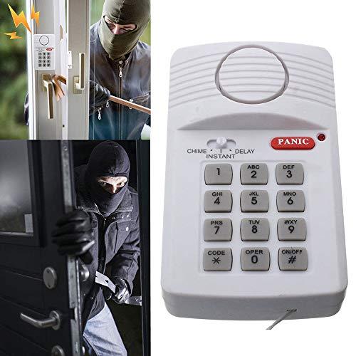 Alarma antirrobo de Seguridad inalámbrica para el hogar, Garaje, cobertizo, Caravana con Teclado para Ventana de Puerta, Funciona con 3 Pilas AA (no Incluidas)