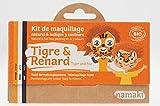 NAMAKI - Kit Trucco Bambini - 3 colori per il Viso - Tigre e Volpe - Con pennello - Colori naturali e ipoallergenici - 7,5g