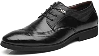 Oxford Business Formal Wear Oxford Shoes Microfiber Leather Upper Wear-resistant Non-slip Rubber Sole Pointed Low Help for Prom Derby Saddle Shoes (Color : Black, Size : 44)