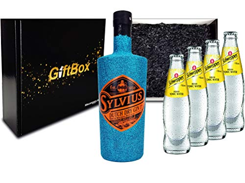 Gin Tonic Giftbox Geschenkset - Sylvius Dutch Gin Bling Bling Glitzerflasche Blau 0,7l 700ml (45% Vol) + 4x Schweppes Tonic Water 200ml inkl. Pfand MEHRWEG - [Enthält Sulfite]
