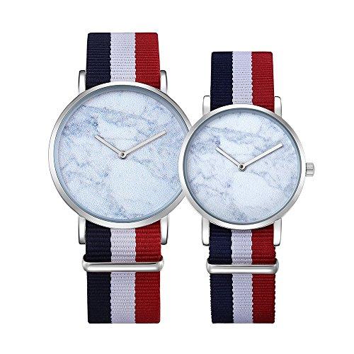 Schöne Uhren, CAGARNY 6812 Runden Zifferblatt Legierung Silber Case Fashion Paar Uhr Männer & Frauen Liebhaber Quarzuhren mit Nylonband ( SKU : Wa0726b )
