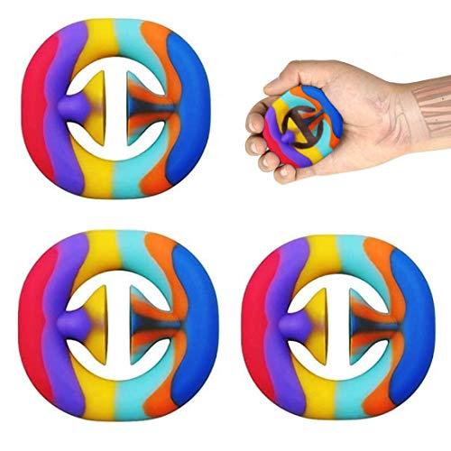mciskin Fidget Snappers Spielzeug zum Stressabbau, Greifen, Knacken, sensorisch, für Partys, Regenbogenfarben, 3 Stück