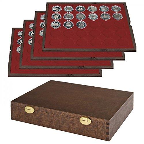 LINDNER Echtholz Münzkassette mit 4 Tableaus für 120 Münzkapseln mit Außen-Ø 39 mm, z.B. für deutsche 20 Euro-/10 Euro-Silbermünzen in LINDNER Münzkapseln - Sonderedition