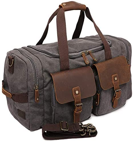 Canvas Duffle Bag Aocome Overnight Bag for Men and Women Traveling Genuine Leather Trim Travel product image