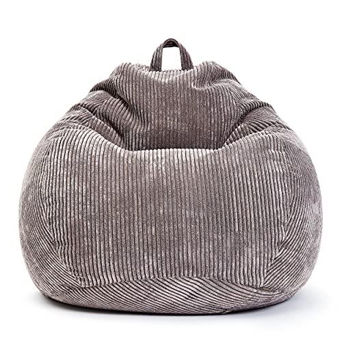 Green Bean © Scoop Indoor Sitzsack 90 x 110 cm - EPS-Perlen Kügelchen Füllung - Cord - kuschelig, weich, robust - waschbar - Beanbag, Lounge Chair, Liege - Anthrazit