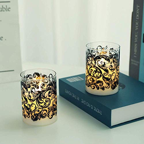 JHY DESIGN Set of 2 Glass Wax Battery Candles 10cm High LED Candles Real Wax Flameless Candles Flickering Electric Candles with 6-Hour Timer for Home Party SPA Wedding Valentine's Day(Baroque Swirl)
