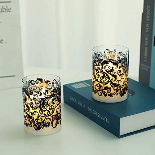JHY DESIGN Juego de 2 velas a pilas de cera de vidrio...