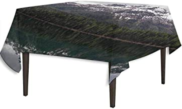 kangkaishi Landscape Printed Tablecloth Lake St. Moritz in Switzerland Upper Engadin Valley Snowy Mountains Desktop Protection pad W36.2 x L36.2 Inch Dark Green Pale Grey