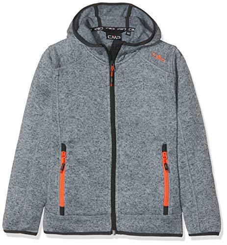 CMP Jungen Knit Tech mélange Fleece Jacket with Hood Jacke, Silver-Asphalt-Red Orange, 176