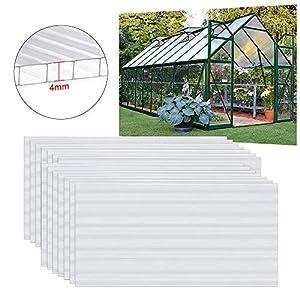 UISEBRT - 14 placas huecas transparentes de policarbonato UV de 60,5 x 121 cm para jardín, invernadero, placas de repuesto para horticultura, garajes