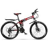 Klapp Mountainbike 21 Gang Shifter Faltbare Racing MTB Fahrrad Doppelscheibenbremsen Dämpfung Falten Touring Radfahren 26 Zoll Reifen (Farbe: Schwarz Rot)