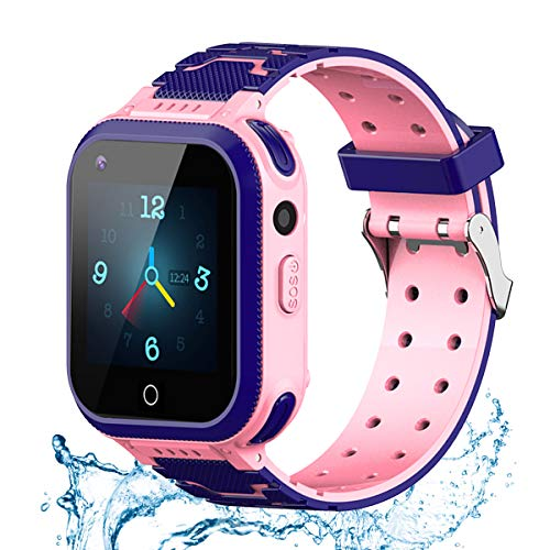 Kids Smart Watch, Smart Watch for Kids, Waterproof 4G LBS GPS Tracker Watch HD Touch Screen Sport Smart Watch Phone Watch with SOS Alarm Anti Lost GPS Tracker for Boys Girls Age 3 Years+ (Pink)