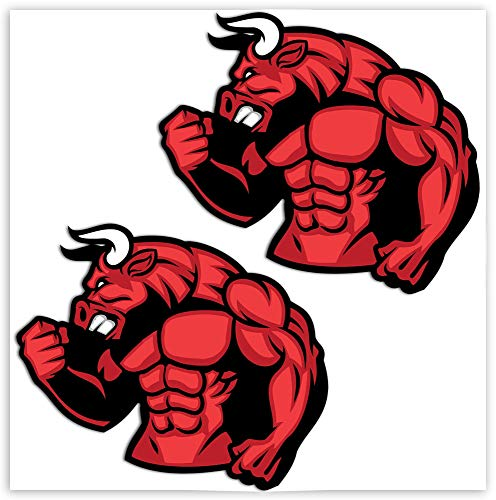 SkinoEu® 2 x PVC Pegatinas Laminadas Adhesivos Toro Rojo Fitness Gym Musculos Decoración Etiqueta para Motocycletas Autos Coches Ciclomotores Bicicletas Ordenador Portátil Regalo B 153