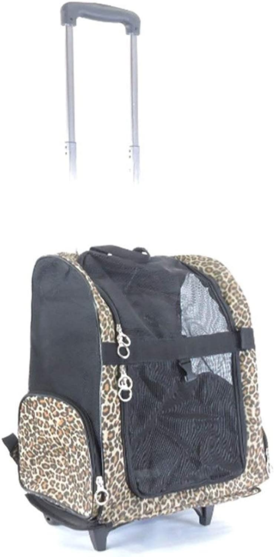 BigShiAUSPICIOUS Travel Outdoor Pet Dog Backpack Reversible Pet Trolley Case (color   Leopard, Size   US 6)