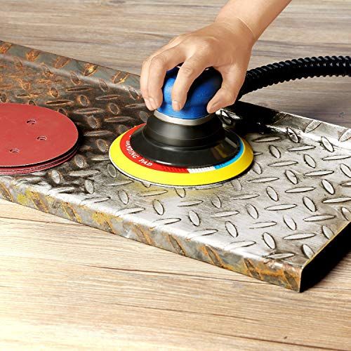 """ZFE Random Orbital Sander 6"""" Pneumatic Palm Sander with Extra 5"""" Backing Plate, Sponge Polishing Pads, Sandpapers Low Vibration and Heavy Duty for Wood, Composites, Metal"""