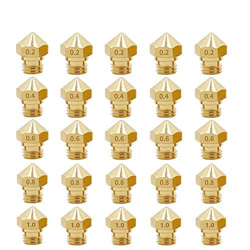 3Dman MK10 Nozzles, M7 0.2mm, 0.4mm, 0.6mm, 0.8mm, 1.0mm Extruder Brass Nozzle Print Head for Makerbot 2 RepRap 1.75mm Filament 3D Printer -25pcs
