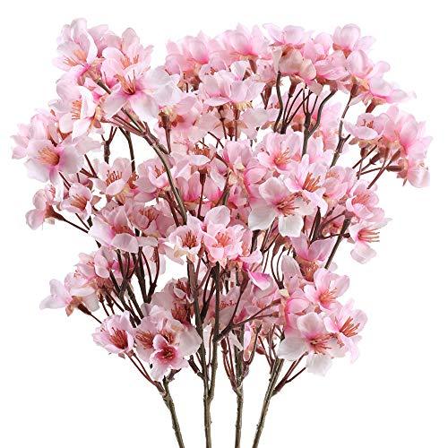 Nahuaa 4pcs Künstliche Blumen Rosa Kunstblumen Kirschblüten Seidenblumen Plastikblumen Deko Kirschblütenzweig Unechte Blumen für Balkon Hochzeit Tischdeko Garten Vase Dekoration