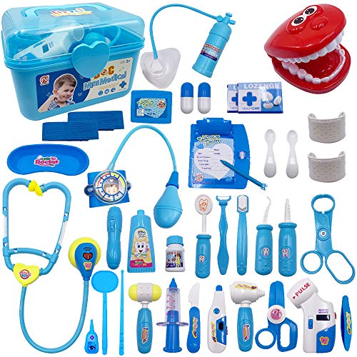 Scientoy Doctor Kit for Kids,38 PCS Medical Kit Toys-Dentist Pretend Play Set, Educational Doctor Role Play Toys with Vision Test &Electronic Stethoscope&Portable Box for Toddler& Boy&Girl(3-12yl)