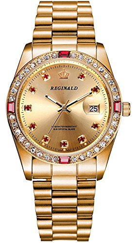 Luxury Unisex Watches Diamond Gold Watches Quartz Calendar Luminous Bezel Luxury Watch (Gold 1)