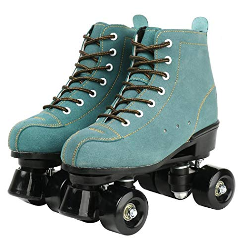 Cowhide Roller Skates, High-Top Shoes Double-Row Design, Classic Premium Roller Skates Four Wheels Roller Skates Shiny Roller Skates for Unisex (Blue,7)