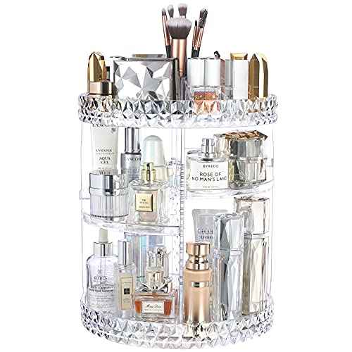 InnSweet 360 Rotating Makeup Organizer, Adjustable Cosmetic Storage Display Case with 8 Layers, Large Capacity Cosmetic Shelf, Acrylic Clear